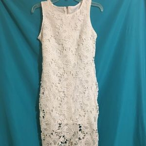 Gorgeous white, lace-overlay, high low dress